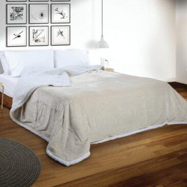 Acolchado Corderito Premium Liso 1 Plaza y 1/2 natural