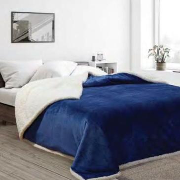 Acolchado Corderito Premium Liso Queen azul