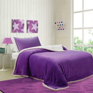 Acolchado Corderito Premium Liso 1 Plaza y 1/2 violeta