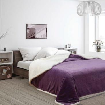 Acolchado Corderito Premium Liso king violeta