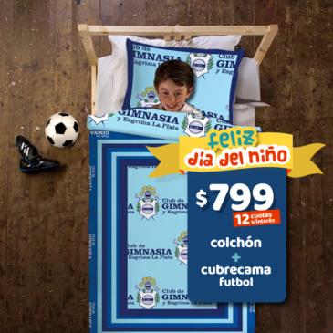 COMBO: Colchon Suavestar Extra TM 080 x 190 x 18 cm + Cubrecama futbol GELP