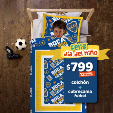 COMBO: Colchon Suavestar Extra TM 080 x 190 x 18 cm + Cubrecama futbol Boca