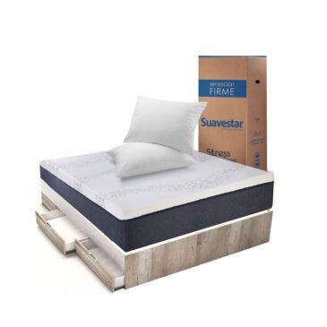 Combo Box 2 plazas: Cama + Colchón  + 2 Almohadas